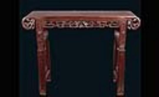 红木雕花卷头琴桌